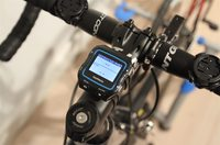 On road bike step with rubber band mount (seen above to left/right as well).