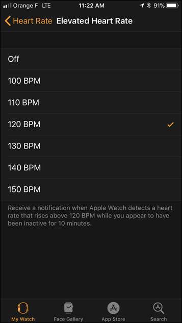 Apple Watch Series 3 Elevated HR Notice Customization