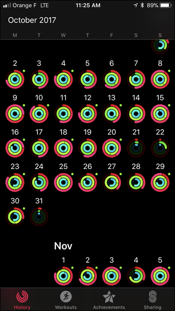 Apple Watch Series 3 Activity History App
