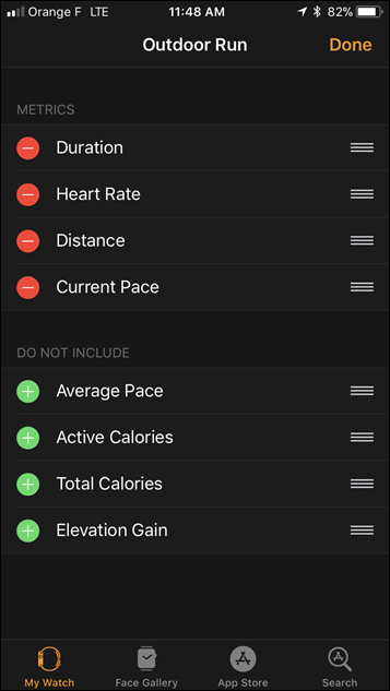 Apple Watch Series 3 Workout Field Selector Data Options
