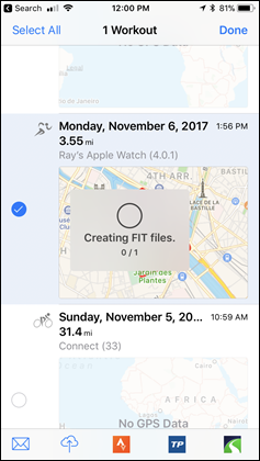 Apple Watch Series 3 HealthFit FIT File Creation