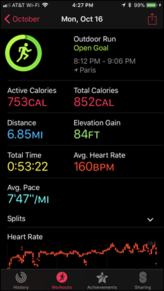 Apple Watch Series 3 Workouts App Main Page