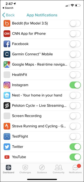 Versa Lite Notifications Apps Menu